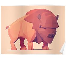 Low Poly Buffalo Poster