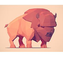 Low Poly Buffalo Photographic Print