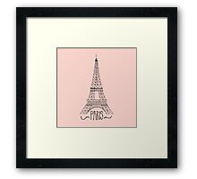 eiffel tower on pink Framed Print