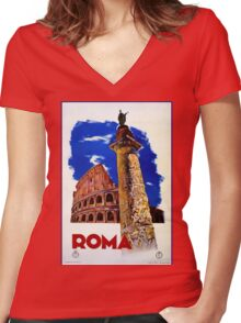 Vintage Roma Rome Italian travel Women's Fitted V-Neck T-Shirt