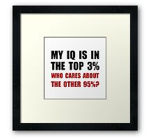 My IQ Who Cares Framed Print