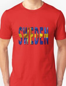 Sweden Word With Flag Texture T-Shirt