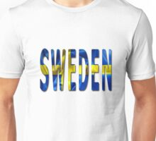 Sweden Word With Flag Texture Unisex T-Shirt