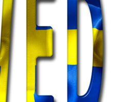 Sweden Word With Flag Texture Sticker