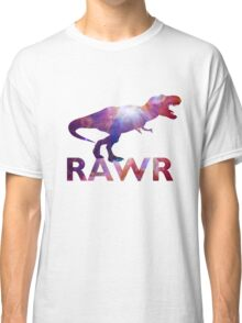 Space T-Rex Dinosaur, Blue and Red Classic T-Shirt