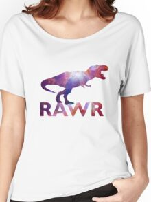Space T-Rex Dinosaur, Blue and Red Women's Relaxed Fit T-Shirt