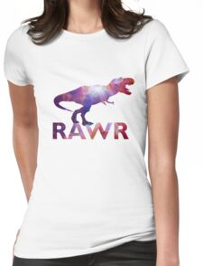 Space T-Rex Dinosaur, Blue and Red Womens Fitted T-Shirt