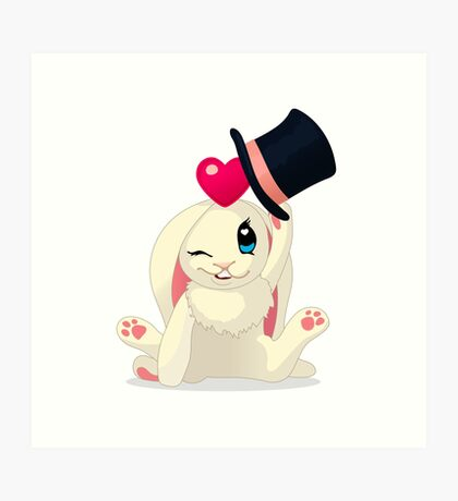 Cute cartoon Funny Bunny with topper Art Print