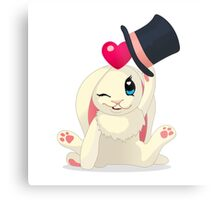Cute cartoon Funny Bunny with topper Metal Print