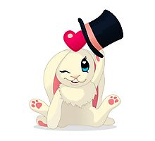 Cute cartoon Funny Bunny with topper Photographic Print