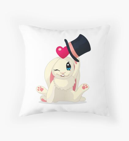 Cute cartoon Funny Bunny with topper Throw Pillow
