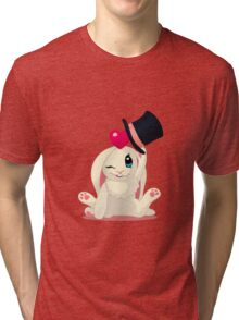 Cute cartoon Funny Bunny with topper Tri-blend T-Shirt