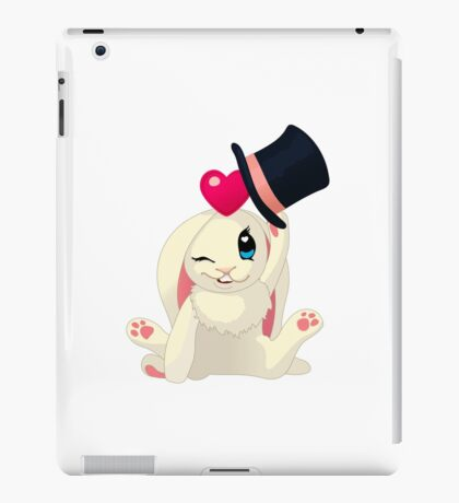 Cute cartoon Funny Bunny with topper iPad Case/Skin