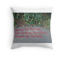 Holly Berry Haiku Throw Pillow