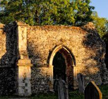 Twilight in the church Yard   Ruins Sticker