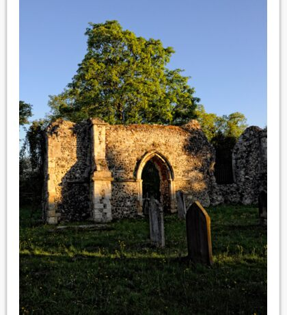 Twilight in the church Yard   Ruins Sticker