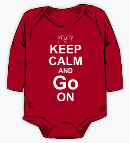 KEEP CALM AND Go ON - White on Red Design for Go Programmers One Piece - Long Sleeve