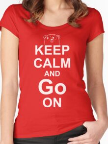 KEEP CALM AND Go ON - White on Red Design for Go Programmers Women's Fitted Scoop T-Shirt