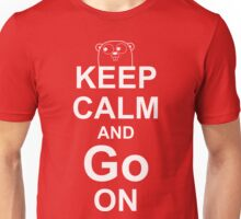 KEEP CALM AND Go ON - White on Red Design for Go Programmers Unisex T-Shirt