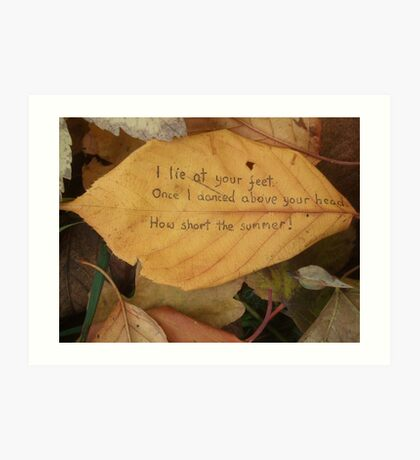 Leaf haiku Art Print