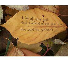 Leaf haiku Photographic Print