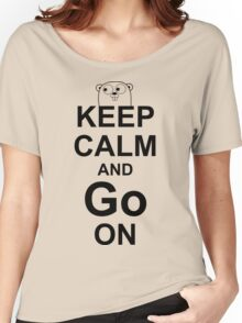 KEEP CALM AND Go ON - Black on White Design for Go Programmers Women's Relaxed Fit T-Shirt