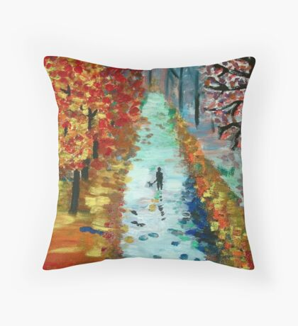 Lonely night painting Throw Pillow