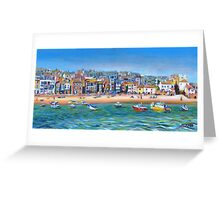 Acrylic painting, St Ives Harbour, Cornwall art Greeting Card