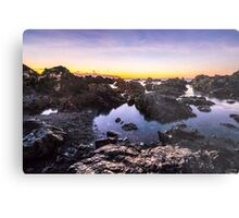 Red Rocks Walkway Dawn, Owhiro Bay Metal Print