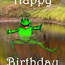 Green frog in pond, Happy Birthday by Mary Taylor