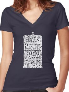 Full of Miracles (white) Women's Fitted V-Neck T-Shirt