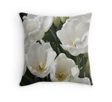 Snow White Tulips Throw Pillow
