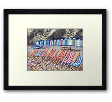 Acrylic painting, Deck chairs and beach huts seaside art Framed Print