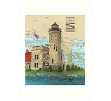 Mackinac Pt Lighthouse MI Nautical Chart Map Cathy Peek Art Print