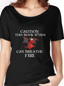 Caution I am a BOOK WYRM Women's Relaxed Fit T-Shirt