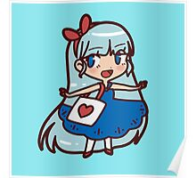 Cute Blue-haired Girl Poster