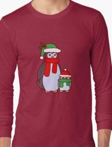 Mama and Baby Christmas Penguins Long Sleeve T-Shirt