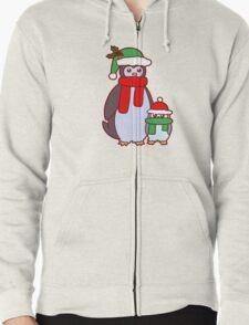 Mama and Baby Christmas Penguins Zipped Hoodie