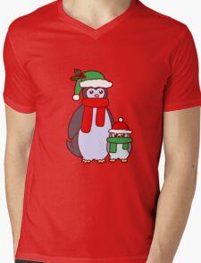 Mama and Baby Christmas Penguins Mens V-Neck T-Shirt