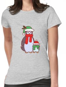 Mama and Baby Christmas Penguins Womens Fitted T-Shirt