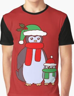 Mama and Baby Christmas Penguins Graphic T-Shirt