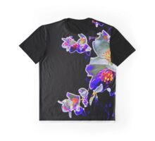 White and Purple Neon Flowers Graphic T-Shirt