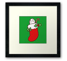 Cute Christmas Stocking Ghost Framed Print