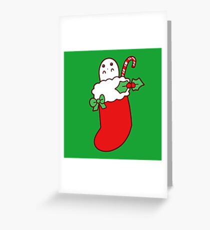 Cute Christmas Stocking Ghost Greeting Card