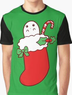 Cute Christmas Stocking Ghost Graphic T-Shirt