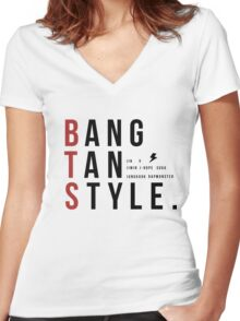 Bangtan Style--with names!  Women's Fitted V-Neck T-Shirt