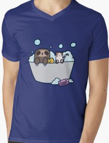 Sloth Kitty Bath Mens V-Neck T-Shirt