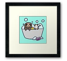 Sloth Kitty Bath Framed Print