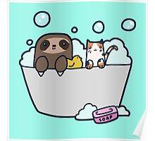Sloth Kitty Bath Poster