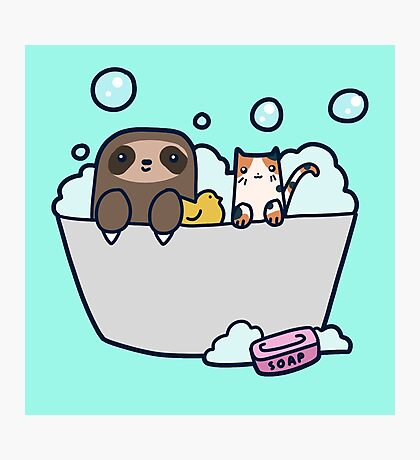 Sloth Kitty Bath Photographic Print